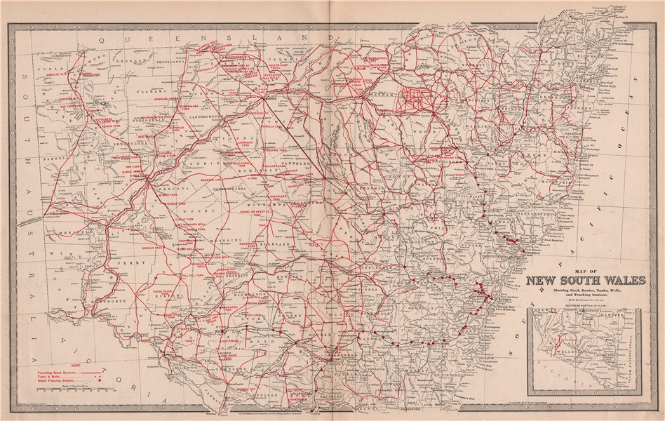 Associate Product NEW SOUTH WALES. Stock Routes Tanks Wells Trucking Stations. MACDONALD 1888 map