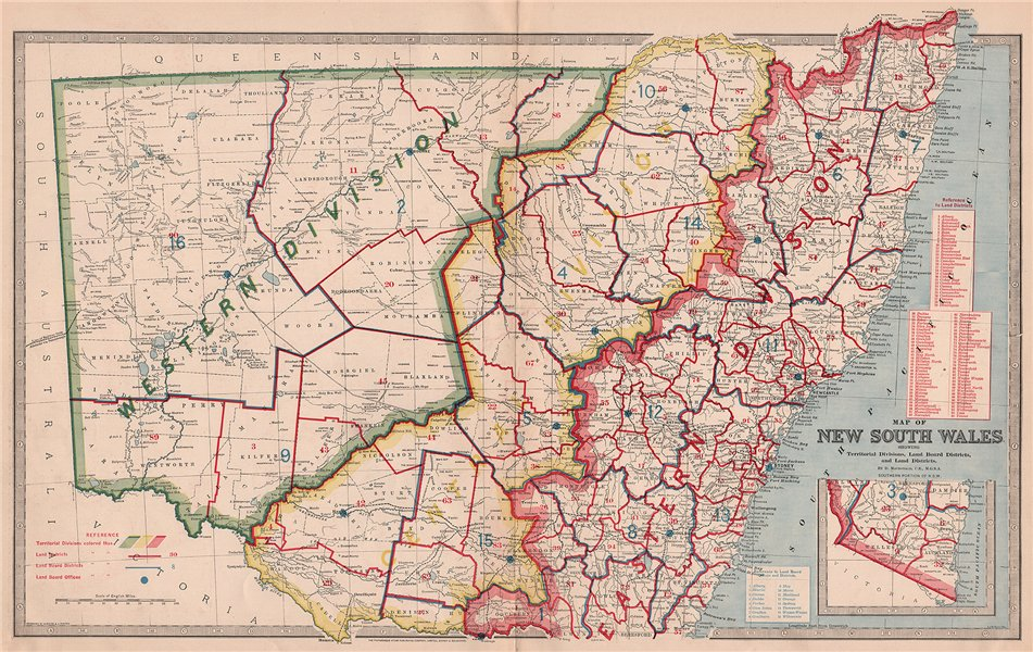 Associate Product NEW SOUTH WALES. Territorial Divisions Land Board Districts. MACDONALD 1888 map