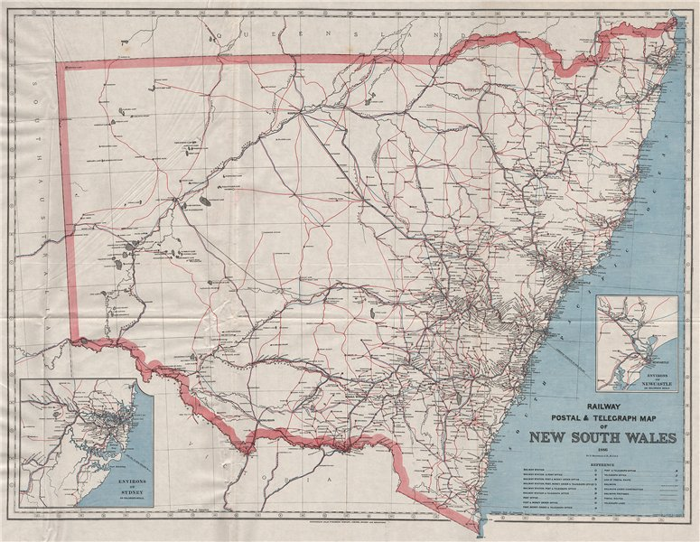 Associate Product NEW SOUTH WALES. Railway Post Telegraph routes offices 1886. MACDONALD 1888 map