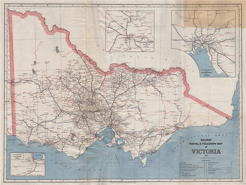 Associate Product VICTORIA Australia. Railway Post Telegraph routes offices 1887. GARRAN 1888 map