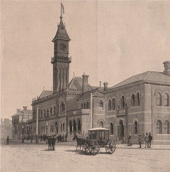 Associate Product The Richmond Town Hall. MELBOURNE. Australia 1888 old antique print picture