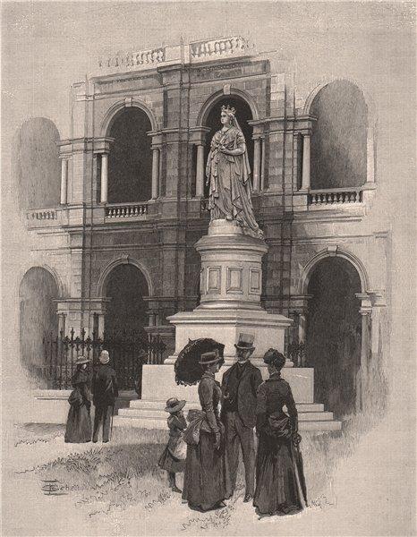 Associate Product The Queen's Statue, BRISBANE. Queensland. Australia 1888 old antique print