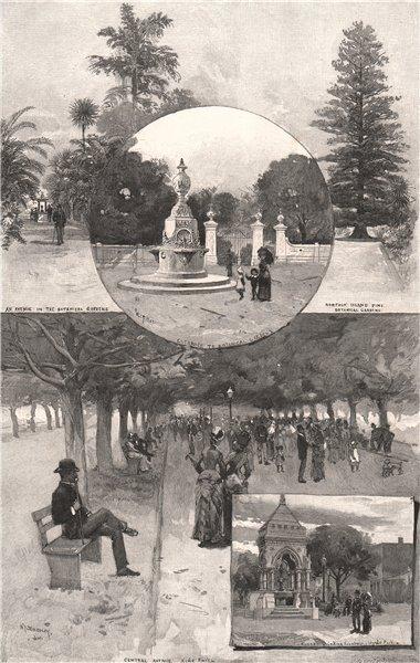 SYDNEY PARKS. Botanical gardens. Hyde Park. New South Wales. Australia 1888