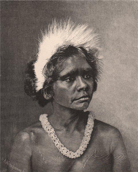 Associate Product An Aboriginal Woman. Australia 1888 old antique vintage print picture
