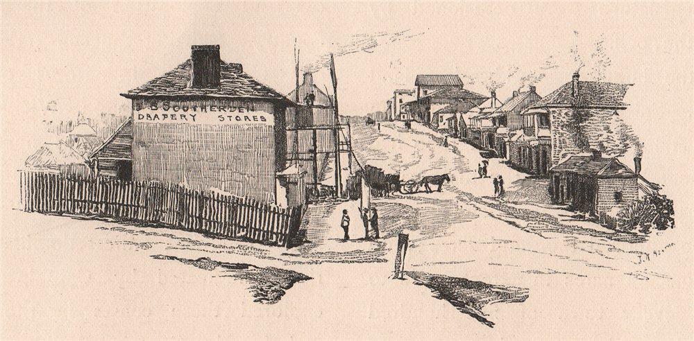 Associate Product Queen Street, BRISBANE, in 1860. Queensland. Australia 1888 old antique print