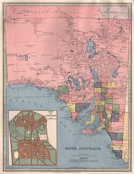 Associate Product SOUTH AUSTRALIA showing railways in use/UC & counties. Adelaide.GARRAN 1888 map
