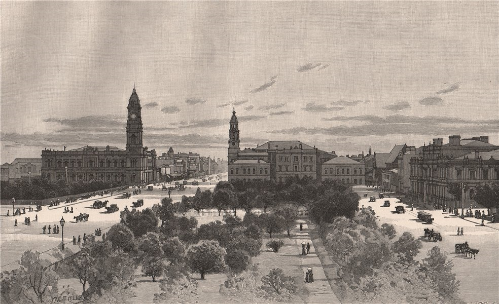 King William Street, from Victoria Square. ADELAIDE. Australia 1888 old print