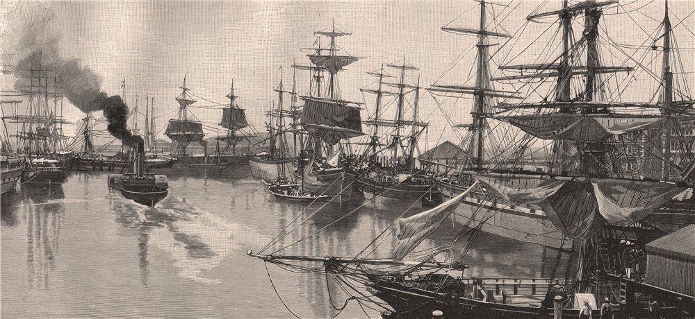 Associate Product PORT ADELAIDE in 1888. South Australia 1888 old antique vintage print picture