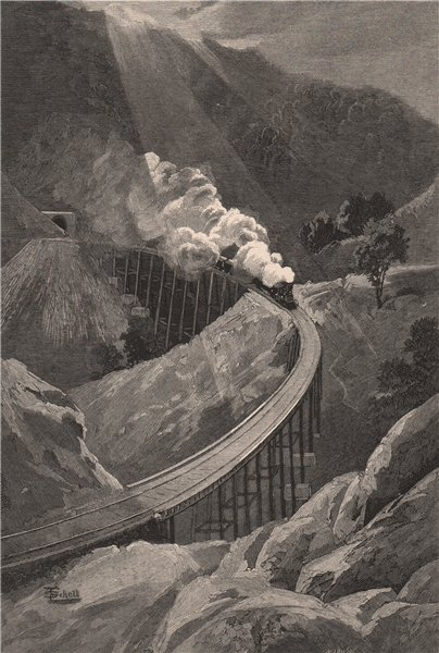 Associate Product Viaducts on the Hills Railway. Adelaide. Australia 1888 old antique print