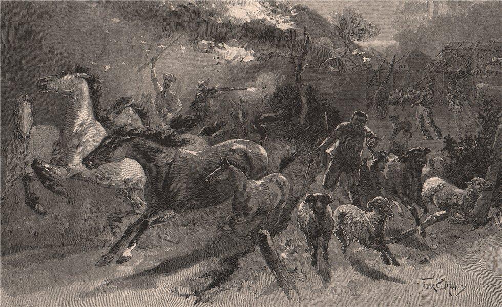 Associate Product Convicts plundering settlers' homesteads. TASMANIA. Australia 1888 old print