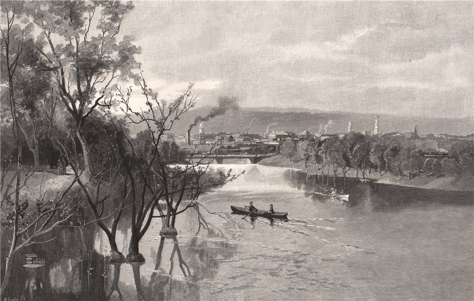 Associate Product ADELAIDE, from the river Torrens. South Australia 1888 old antique print