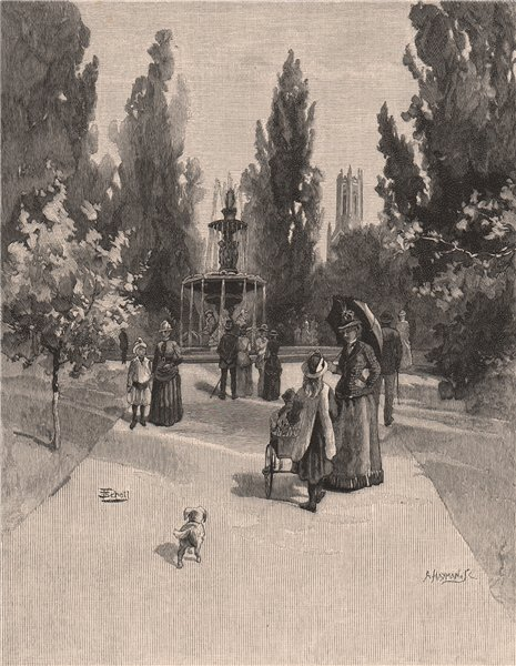 Associate Product Princess Square, LAUNCESTON. Tasmania. Australia 1888 old antique print