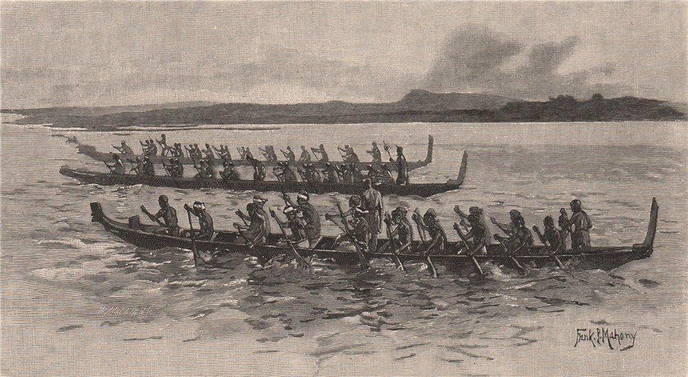 Associate Product Maori Canoe Race. New Zealand 1888 old antique vintage print picture