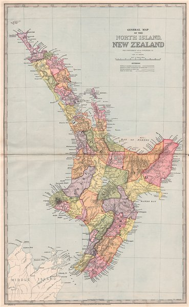 Associate Product Large map of NORTH ISLAND, NEW ZEALAND showing counties. GARRAN 1888 old