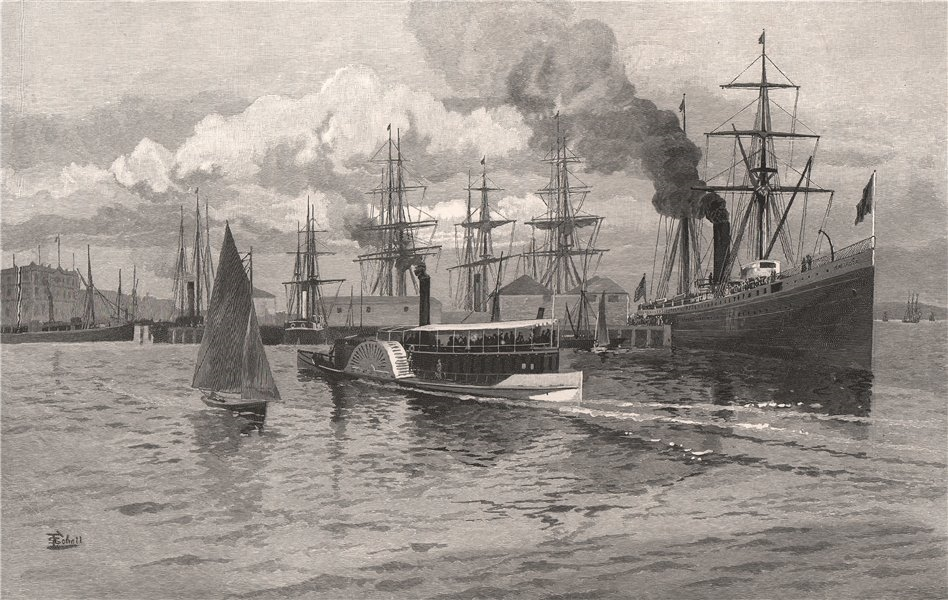 Mail Steamer leaving AUCKLAND. New Zealand 1888 old antique print picture
