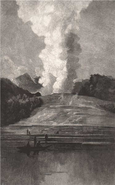 Associate Product WHITE TERRACE in State of Eruption. New Zealand 1888 old antique print picture