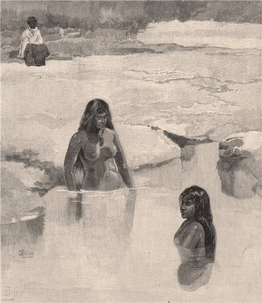 Associate Product Maori girls bathing. New Zealand 1888 old antique vintage print picture