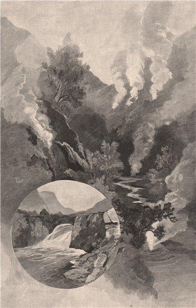 WAIRAKEI hot springs and Te Huke Falls. New Zealand 1888 old antique print