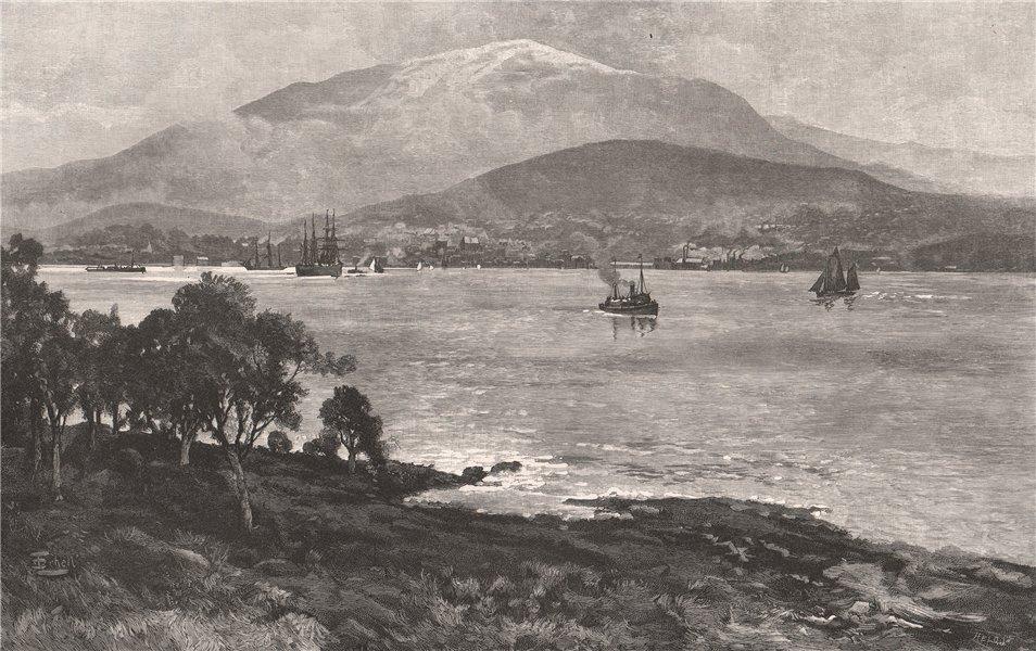 Associate Product HOBART, from Kangaroo point. Tasmania. Australia 1888 old antique print