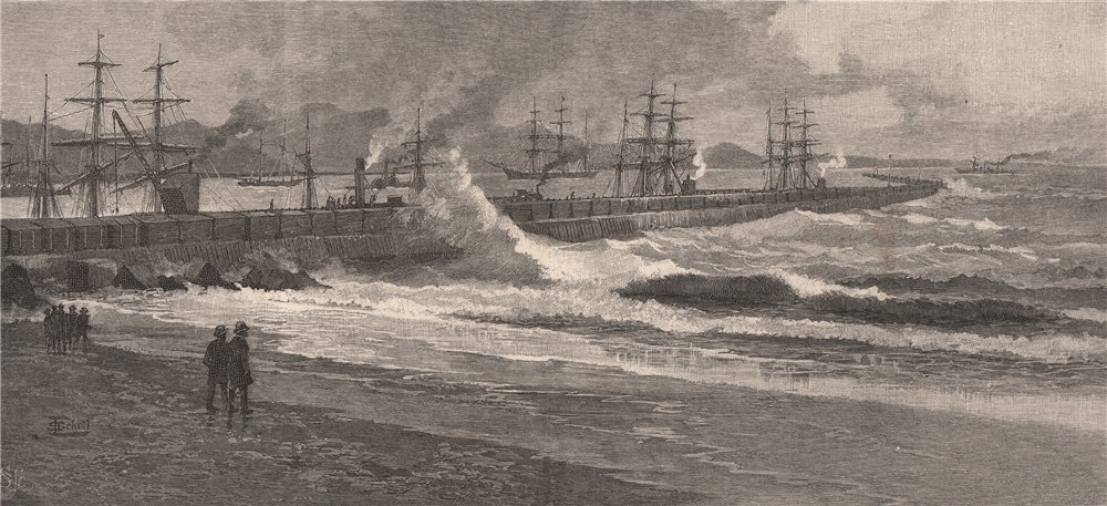 Associate Product Breakwater at TIMARU. New Zealand 1888 old antique vintage print picture