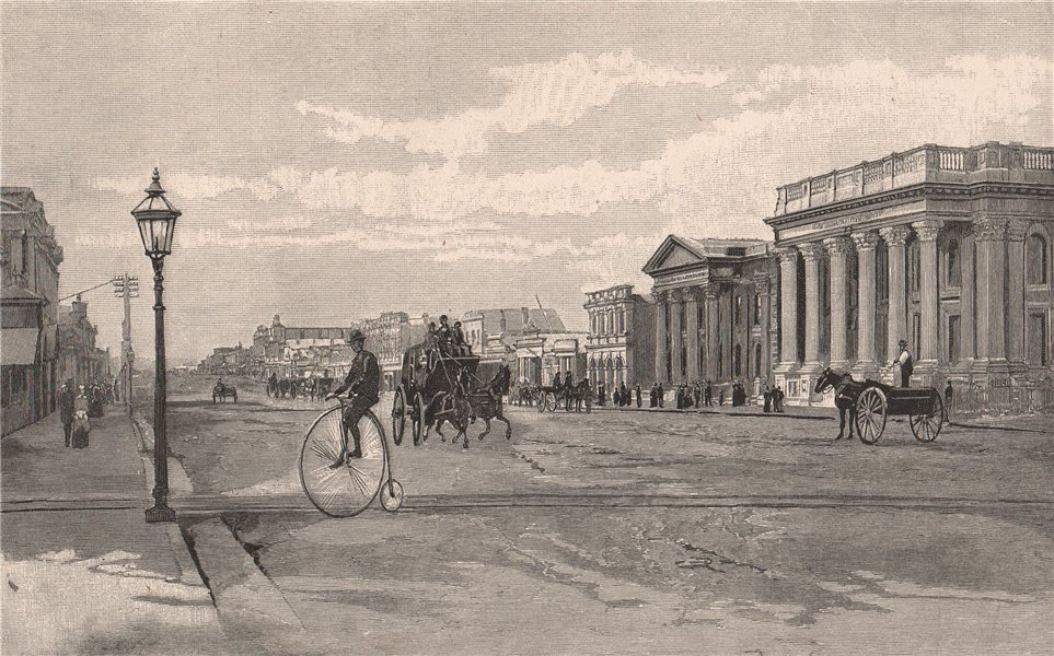 Associate Product Thames Street, OAMARU. New Zealand. Penny farthing bicycle. 1888 old print