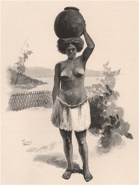 Native girl carrying water. Pacific Islands 1888 old antique print picture