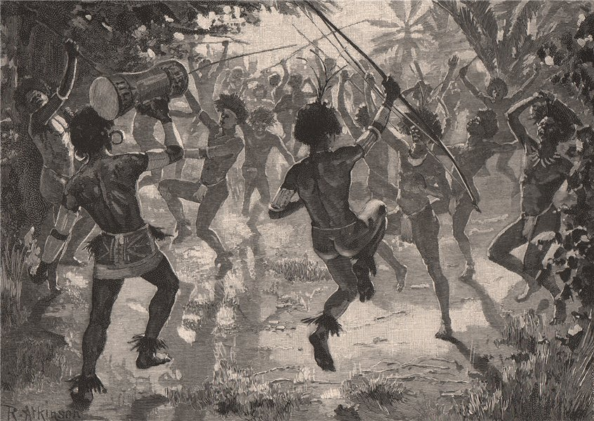 Associate Product A native dance. Pacific Islands 1888 old antique vintage print picture