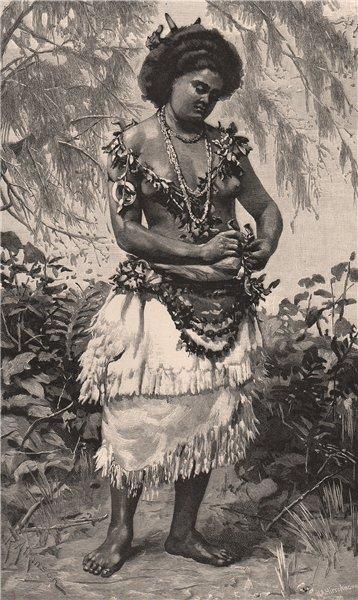 Associate Product A Samoan Princess. SAMOA 1888 old antique vintage print picture