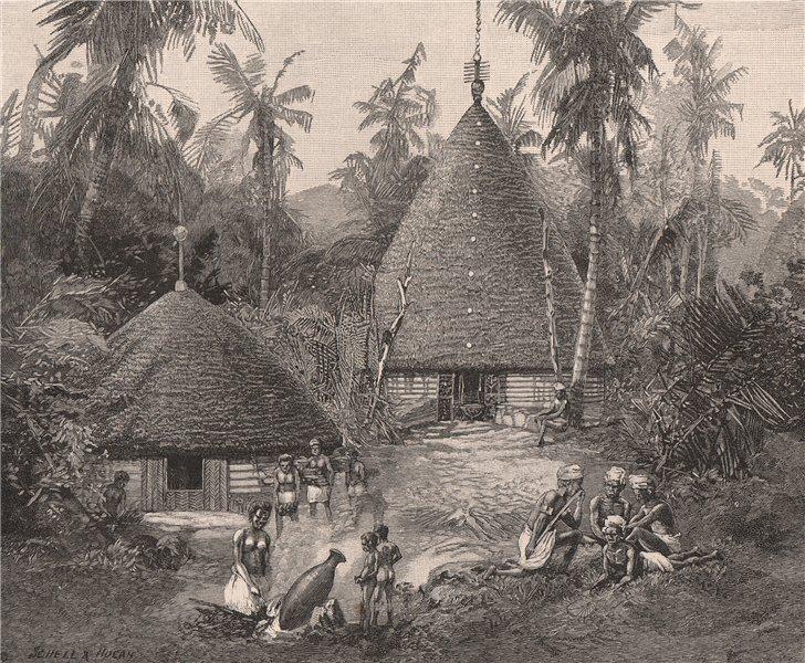 Native village, New Caledonia. Melanesia 1888 old antique print picture