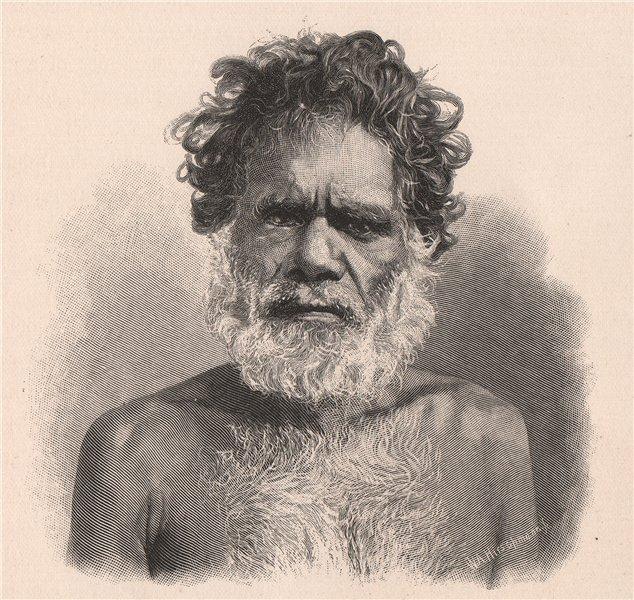 Associate Product Male Aboriginal. Australia 1888 old antique vintage print picture