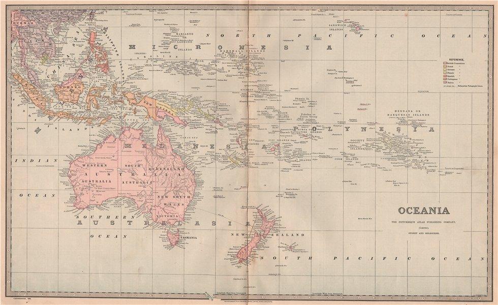 Associate Product OCEANIA. Australasia East Indies Australia. Large map. For GARRAN 1888 old