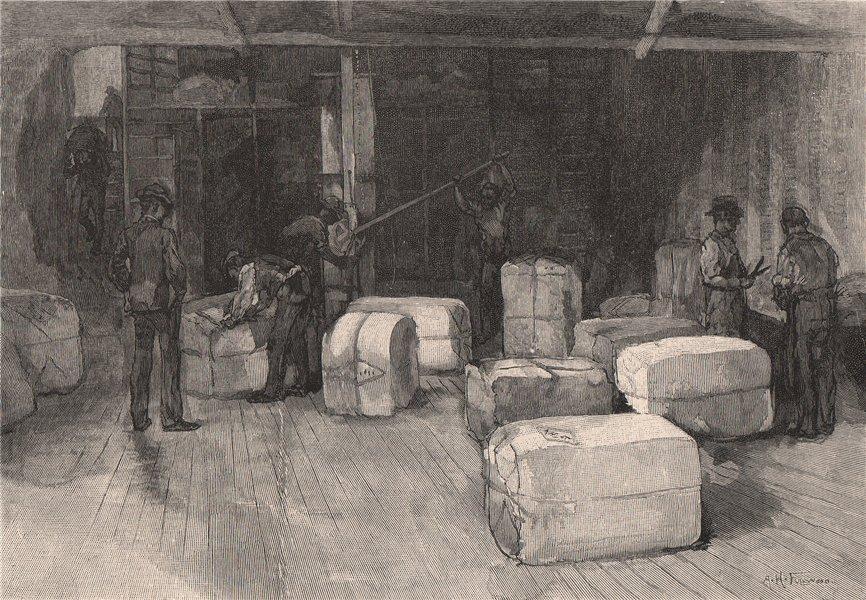 Wool pressing. Australia 1888 old antique vintage print picture