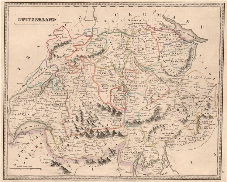 Associate Product SWITZERLAND. Geneva shown as exclave within Sardinian states. JOHNSON 1850 map