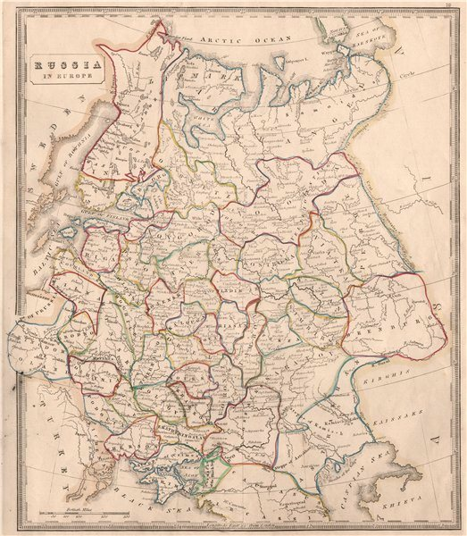 Associate Product RUSSIA IN EUROPE. Oblasts & rivers. Kingdom of Poland. OOC. JOHNSON 1850 map