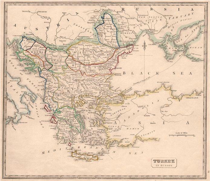 Associate Product TURKEY IN EUROPE. Balkans. British Ionian Islands. Romelia &c. JOHNSON 1850 map