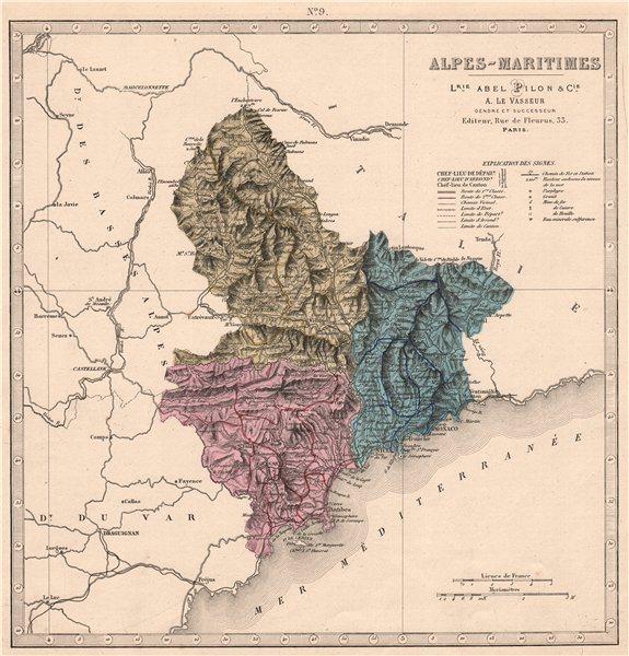 Associate Product ALPES-MARITIMES department showing resources & minerals. LE VASSEUR 1876 map