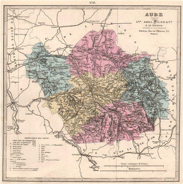 Associate Product AUBE department. Battlefields/dates, resources & minerals. LE VASSEUR 1876 map