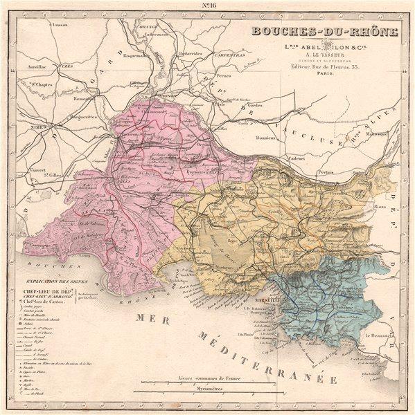 Associate Product BOUCHES-DU-RHÔNE department showing resources & minerals. LE VASSEUR 1876 map