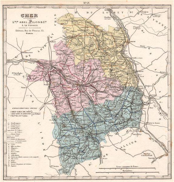 CHER department showing resources & minerals. LE VASSEUR 1876 old antique map