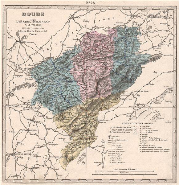 Associate Product DOUBS department showing resources & minerals. LE VASSEUR 1876 old antique map