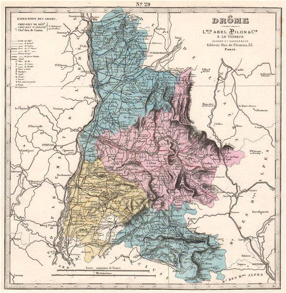Associate Product DRÔME department showing resources & minerals. LE VASSEUR 1876 old antique map