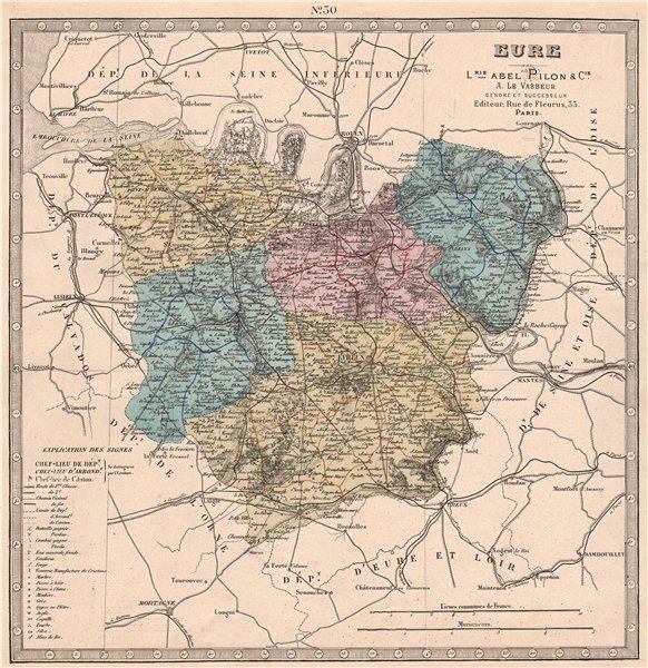 Associate Product EURE department. Battlefields/dates, resources & minerals. LE VASSEUR 1876 map