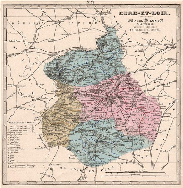 EURE-ET-LOIR department. Battles/dates resources minerals. LE VASSEUR 1876 map