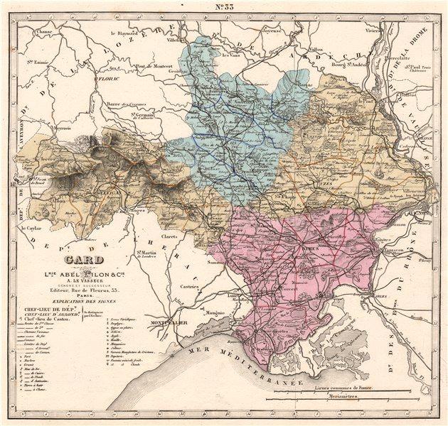 Associate Product GARD department showing resources & minerals. LE VASSEUR 1876 old antique map