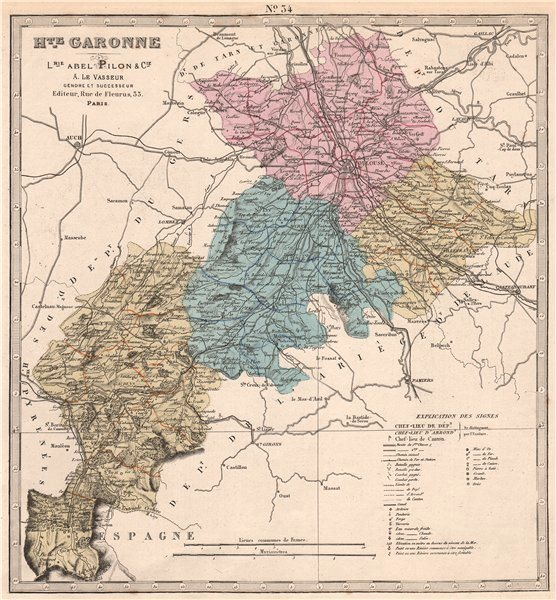 Associate Product HAUTE-GARONNE department showing resources & minerals. LE VASSEUR 1876 old map