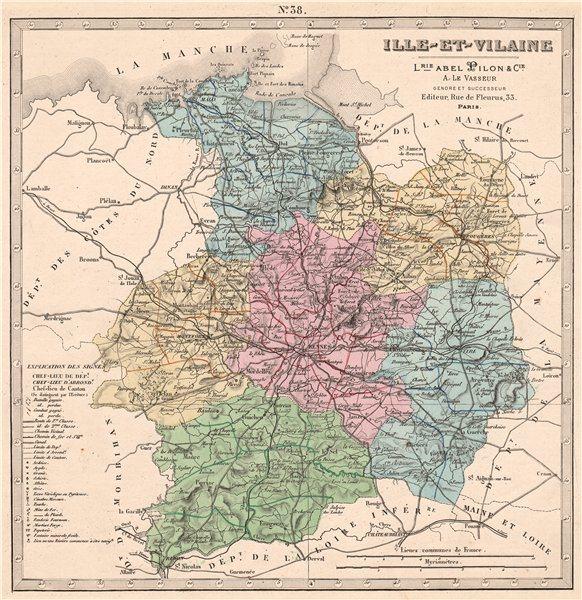 ILLE-ET-VILAINE department. Battles/dates resources minerals.LE VASSEUR 1876 map