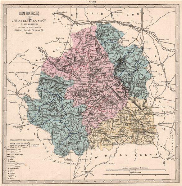 Associate Product INDRE department showing resources & minerals. LE VASSEUR 1876 old antique map