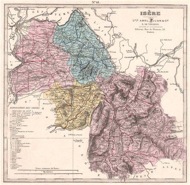 Associate Product ISÈRE department showing resources & minerals. LE VASSEUR 1876 old antique map