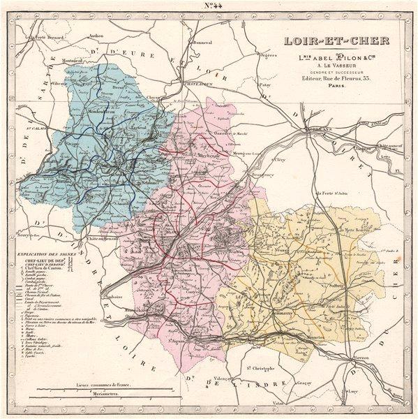 Associate Product LOIR-ET-CHER department. Battles/dates resources minerals. LE VASSEUR 1876 map