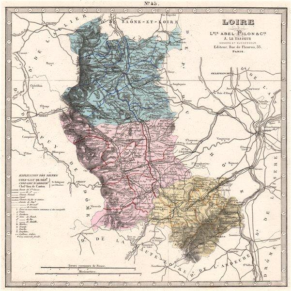 Associate Product LOIRE department showing resources & minerals. LE VASSEUR 1876 old antique map